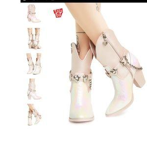 Dolls Kill/Sugar Thrillz Iridescent Cowboy Boots